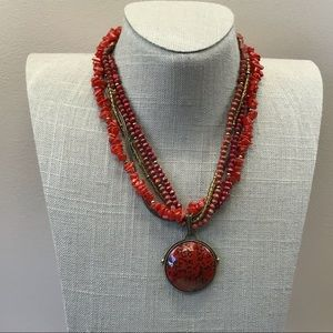 Brick red multistrand chip bead Monet necklace